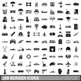 100 burden icons set, simple style. 100 burden icons set in simple style for any design vector illustration Royalty Free Stock Images