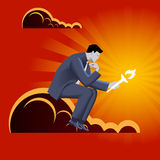 Burden of leadership business concept. Pensive businessman in business suit with burning torch in his hand sitting on the cloud and watching on the torch Stock Images