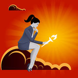 Burden of leadership business concept. Pensive business woman in business suit with burning torch in her hand sitting on the cloud and watching on the torch Royalty Free Stock Photo