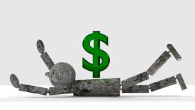 Burden Of Money. A wooden man falls under the burden of money, a green glass dollar sign. 3D render Stock Images