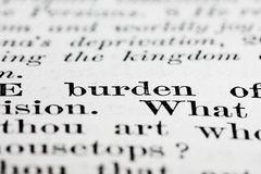 Burden text Stock Photo