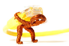 Burdened by Wires Copper Dude Royalty Free Stock Photography