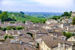 Burdeos Francia de los tejados de Saint Emilion imagen de archivo