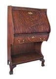 Bureau antique de chêne d'isolement. Photo stock