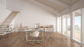 Bureau, architecte et service de planification blancs minimalistes, balayage Photographie stock
