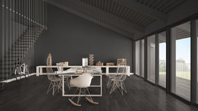 Bureau, architecte et service de planification gris minimalistes, scand Photographie stock libre de droits