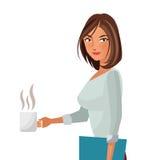 Bureau attrayant de femme avec du café de dossier et de tasse Images libres de droits