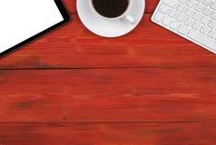 Bureau avec l'espace de copie Clavier sans fil de dispositifs de Digital, Image libre de droits