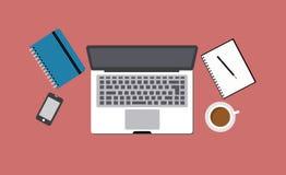 Bureau avec l'ordinateur portatif Photos libres de droits