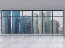 Bureau avec la grande fenêtre Images libres de droits
