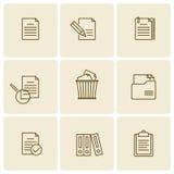Bureau, bedrijfsdocumenten, dossiers, omslagen vector dun overzicht i Royalty-vrije Stock Afbeeldingen