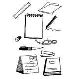 Bureau bedrijfskantoorbehoeftenreeks werkende hulpmiddelen, Notitieboekjereeks, Stock Foto