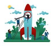 Bureau Behulpzaam Groepswerk De mensen bouwen Raket van Succes De Vectorillustratie van het Opstarten van bedrijvenconcept stock illustratie