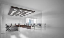Bureau binnenlands ontwerp in whirekleur en stralen van licht van winst Stock Afbeelding