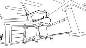 Bureau binnenlandse verwezenlijking, wireframe stock illustratie