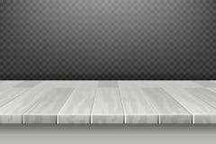 Bureau blanc en bois, surface supérieure de table dans la perspective sur l'illustration de vecteur de contexte de plaid Images stock