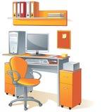 Bureau, computer, stoelbureau Stock Afbeelding