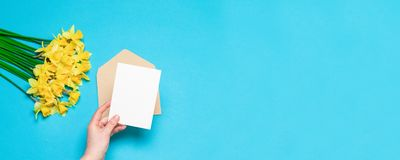 Bureau, concept de ressort Les mains des femmes tiennent l'enveloppe de métier avec une carte postale, jonquilles jaunes fraîches photographie stock
