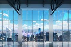 Bureau contemporain avec la vue de New York images libres de droits