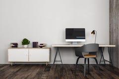 Bureau contemporain avec le lieu de travail Photographie stock