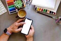 Bureau créatif de concepteur copiez le concept de construction de l'espace plat Photographie stock libre de droits