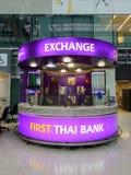 Bureau d'échange d'argent à l'aéroport de Suvanaphumi Photos libres de droits