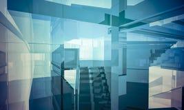 Bureau d'Apartment.Empty avec des colonnes et de grandes fenêtres, Bu d'intérieur Photo stock