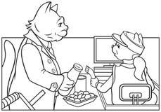 Bureau d'argent liquide animal de supermarché Illustration de Vecteur