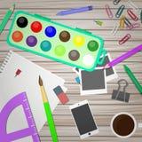 Bureau d'artiste et de concepteur Illustration de vecteur dans le style plat Photographie stock libre de droits
