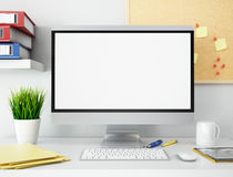 bureau 3D avec l'écran d'ordinateur vide Maquette Images libres de droits