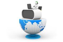 bureau d'homme des affaires 3d et bureau sur le globe Image stock