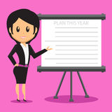 Bureau Dame Presenting Plan vector illustratie