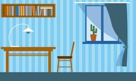 Bureau dans l'appartement avec la table, la chaise, l'étagère et la fenêtre photographie stock libre de droits