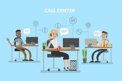 Bureau de centre d'appels illustration de vecteur