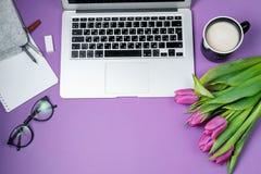 Bureau de femme avec l'ordinateur portable, le café de matin et les tulipes sur b violet Photo stock