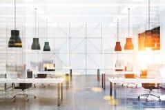 Bureau de l'espace ouvert, rangées des bureaux modifiés la tonalité Photographie stock libre de droits