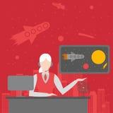Bureau de la future agence de voyages Directeur de tourisme de cosmo de personnage féminin Ensemble de voyage de cosmos de planèt Photographie stock libre de droits