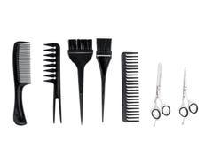 Bureau de travail de coiffeur avec des outils pour des cheveux dénommant sur l'espace blanc de vue supérieure de fond pour le tex Images stock