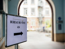 Bureau de vote sign in French city next to pooling place. During the second round of the French presidential election to choose between Emmanuel Macron and Stock Photos