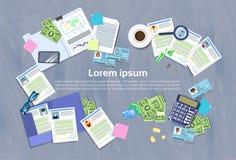 Bureau de Workplace Concept Office de directeur d'heure avec le résumé de cv illustration stock