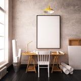 Bureau in de zolder van de hipsterstijl modelbinnenland met affiches 3d stock illustratie