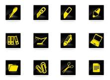 Bureau eenvoudig pictogrammen Stock Afbeeldingen