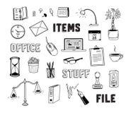 Bureau en bedrijfsobjecten geplaatste krabbels royalty-vrije illustratie