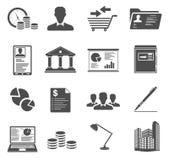 Bureau en Bedrijfspictogrammen Stock Foto