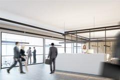 Bureau en bois et en verre, une réception blanche, côté Photo stock