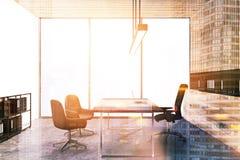 Bureau en bois panoramique de Président de mur modifié la tonalité Image libre de droits