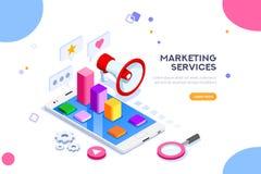 Bureau en Digitaal Marketing Concept vector illustratie