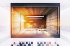 Bureau en verre et en bois de patron de mur modifié la tonalité illustration libre de droits