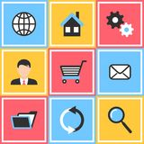 Bureau en Webpictogrammen Stock Afbeelding