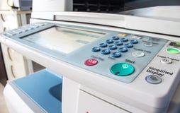 Bureau, fax, machine de copie, haut étroit de bouton marche photos stock